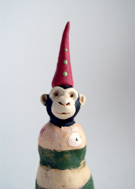 miniature monkey sculpture - monkey in red hat - mixed media