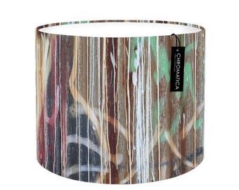 Lamp Shade - Paint Streaks. Photography lampshade, spray paint, grafitti, multicolor, drum, urban.