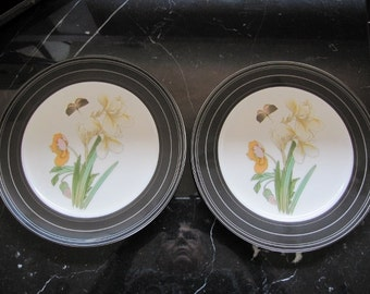Pair of bone china plates hand decorated with vintage decals of flowers