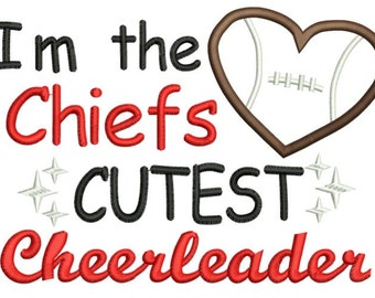 Chiefs Cutest Cheerleader machine applique embroidery design - 5X7