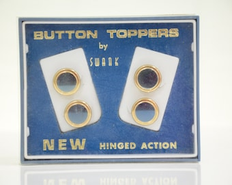Mid Century Blue & Gold SWANK Hinged Button Toppers