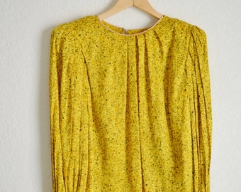Fabulous Vintage Flora Kung Silk Blouse with Huge Padded Shoulders, Wide Sleeves Deep Gold and Navy swirls Size 4