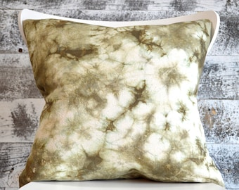 Shibori Pillow Cover in Moss Green