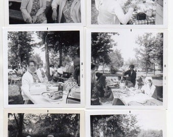 July 1968 Picnic Set Of 6 Photos Cookout Kitchen Memorabilia Cooking Collectibles Mid Century Modern Photographs