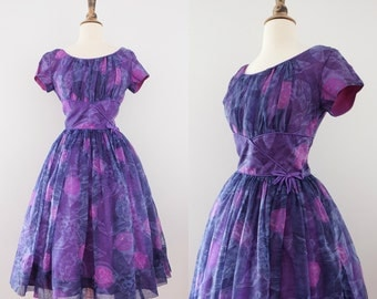 Vintage 1950s Purple Watercolor Chiffon Dress // 50s Fit n Flare- 50% OFF Coupon Code: CLEAROUT17