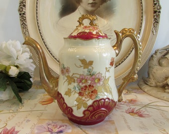 Antique French stunning tea / coffee pot.  Fabulous red and gold relief