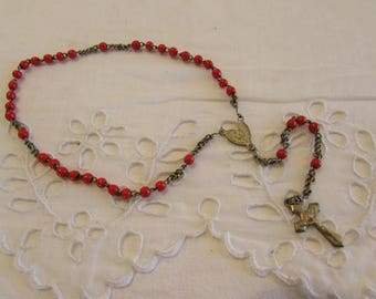 Antique  French small rosary .  Red beads.  Religious