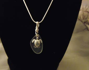Clear Sea Glass Pendant, with Turtle Charm