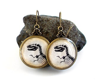 Dinosaur Earrings - T Rex - Tyrannosaur Dangle Earrings in Bronze