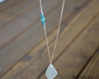 Seashell Jewelry ...White Sea Glass and Turquoise Stone Necklace (1443)