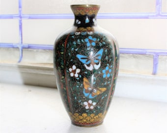 Vintage Chinese Cloisonne Vase Butterflies