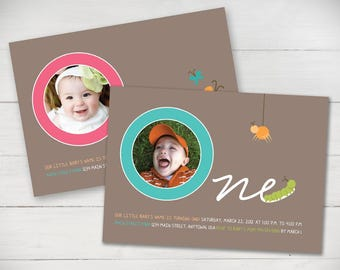 Birthday Butterflies First Birthday Invitation (Girl or Boy) - DIgital File