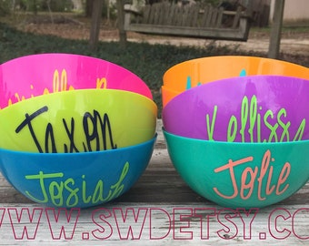 Personalized Party Bowls, Popcorn Bowls, Favor Bowls, Snack Bowl, Party Supplies, Kids Party Favors, Ice Cream Party