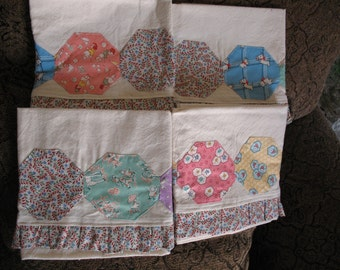 Set of Four Tea Towels with Thirties Fabric and Small Ruffles