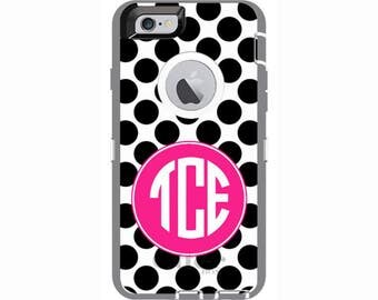 Custom iPhone 6 & iPhone 6s Polka Dots Otterbox Defender Phone Case | Personalized Otterbox Phone Case