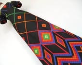 RAINBOW RHOMBUSES . Colorful Print Geometric Op Art Graphics Maxi Dress XS 70s