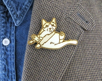 Fat cat brooch, sitting cat pin, cute cat gift, funny cat pin, cat valentine gift, animal lover gift, birch wood, laser cut pin