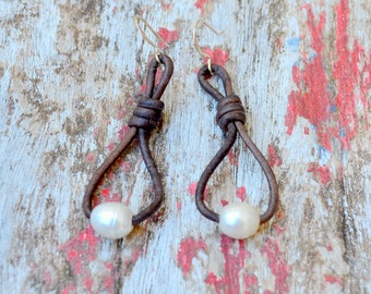 Leather and Pearl Knot Earrings, Natural Dyed Grey Leather and Chunky Freshwater Pearls, Other Colors Available, Clip On Available, Gift Box