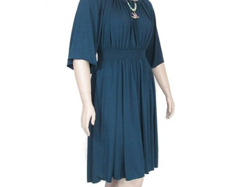 Plus Size Peasant Dress- Shirred Waist -All Natural Fiber Jersey-Womens Made to Order Size-Choice of Color -XL,2X,3X,4X,5X,6X,7X,8X
