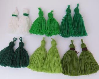 Tassel, Green tassel, white tassel, lime green, pom pom, DIY craft supplies, Tassels for jewelry, dark green tassel 2 pieces.