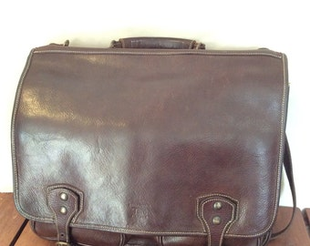 Great Vintage Genuine Pelletteria Toro Firenze Brown Leather Briefcase Messenger Bag