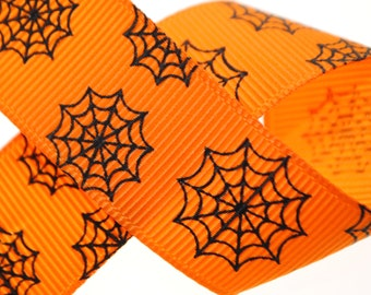 Spiderwebs Orange with Black Grosgrain Ribbon 7/8 inches wide - Two, Five, or Ten Yards