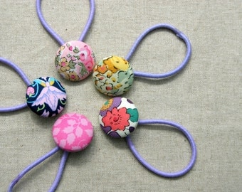 Spring Floral Pony Tail Holders - Set of 5 Mixed Liberty of London Pinks - Snag Free Elastics - Hair Ties Hair Elastics
