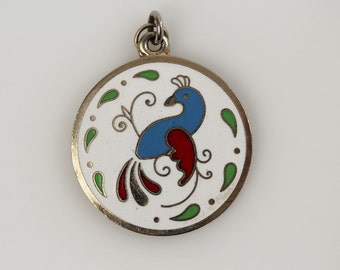Vintage Cloisonne Bird Pendant - Pennsylvania Dutch Hex Round Cloisonne Medallion - Brass Enameled Bird Jewelry