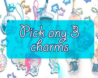 """Pick any three 1.5"""" acrylic charms"""