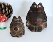 Japanese Cryptomeria Wood Tank Signed Carving- Bear Figurine