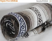 SALE SALE SALE Reserved Brown and White Mexican Blanket// Serape