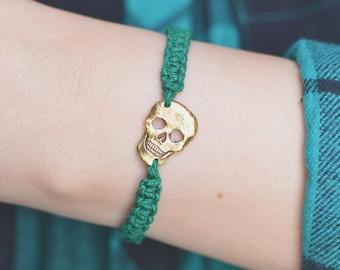 Gold Skull Bracelet Green Macrame