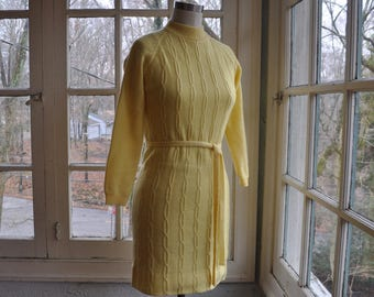 Baby Chick Yellow Vintage Knit Dress/Vintage 1960s Early 1970s/Cable Knit Mod Sweater Dress/Size XS S