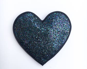Petrol Glitter Love Heart Clutch Handbag