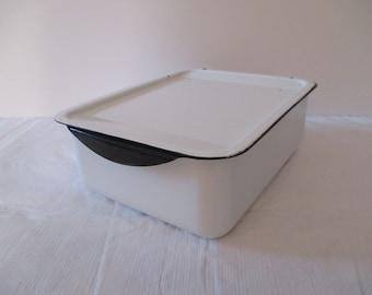 Vintage Enamelware Box - Enamelware Container - Enamelware Refrigerator Dish