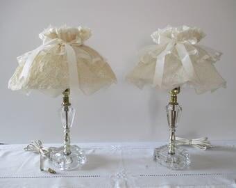 Vintage Crystal Nightstand Lamps (Set of Two) - Crystal Boudoir Lamps (Pair) - Crystal Lamp Set