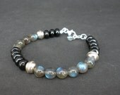 Black Tourmaline Rondelle - Labradorite AA Round- 925 Bali Silver Bracelet, Black Tourmaline Bracelet, Labradorite Bracelet