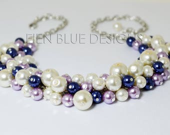 Ivory Pearl Necklace, Navy/violet/Ivory Chunky Necklace, Blue and Purple Necklace, Pearl Cluster Necklace, Ivory, Blue and Lilac Jewelry,
