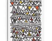 Digital Print - African Triangle Inspired Pattern - Black and White Print - Wall Decor - Giclee Print