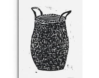 Woven Basket Print - Linocut Block Print - Original or Digital Print