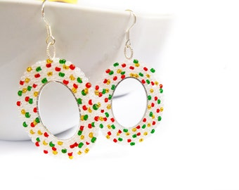 Oval Beaded Earrings, Multicoloured Seed Bead Earrings, Christmas Earrings, UK Seller