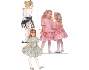 Vintage 1980s Butterick 6143 girls short ruffled dress, size 2 3 4, fit and flare, short long puffed sleeve, party, church, sewing pattern