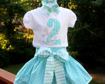 On SALE - Nautical Birthday Outfit, Birthday Girl, Ready to ship, Anchors Skirt, RTS Birthday Outfit, Piggie Bows