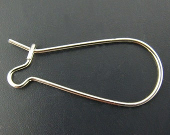 100 Kidney Ear Wires - WHOLESALE - Antique Silver Tone - 25x11mm  - Ships IMMEDIATELY from California - EF95a