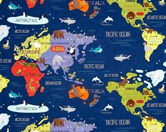 Moda - Hello World by Abi Hall - World Map Navy