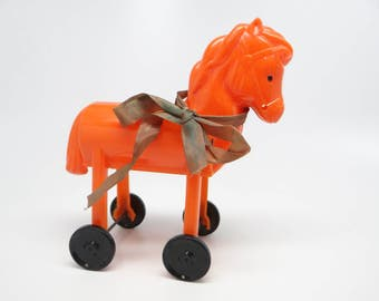 Vintage 1950's Rosbro Trojan Horse Candy Container,  Pull Toy for Halloween