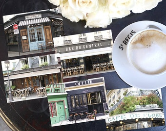 SALE! Paris Photography Postcards - Paris Cafes Postcard Series 1, Blank Card, Greeting Card, Stationery