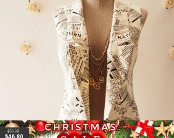 Christmas SALE Crossword Game Off White Women Vest White Blazer Chic Collar Vest Coat  : Play Blazer or semi formal style - Size S-M