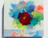 Colorful Small Abstract Floral, Bouquet of Flowers, Acrylic Painting 6x6""