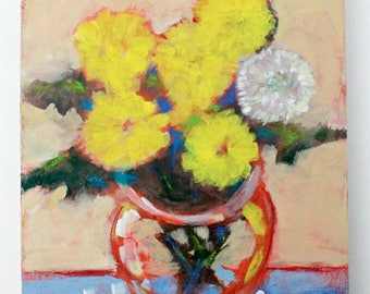"Small Abstract Floral, Wildflowers, Dandelions, Bouquet of Flowers Colorful Modern ""Mother's Day Bouquet"" 8x10"""